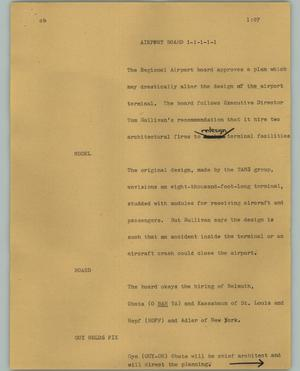 Primary view of object titled '[News Script: Airport board]'.