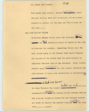 Primary view of object titled '[News Script: Ft. Worth city council]'.
