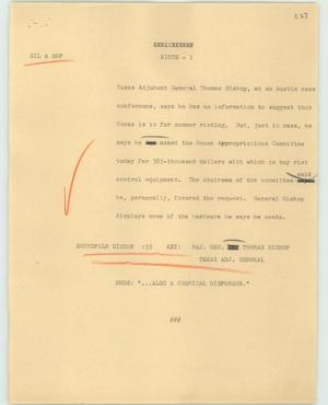 Primary view of object titled '[News Script: Riots]'.