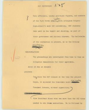 Primary view of object titled '[News Script: GOP convention]'.