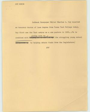 Primary view of object titled '[News Script: Guy honor]'.