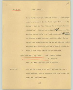 Primary view of object titled '[News Script: Senator Jordan]'.