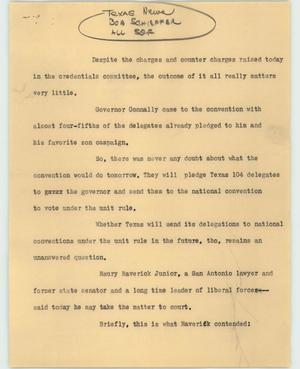 Primary view of object titled '[News Script: National convention]'.