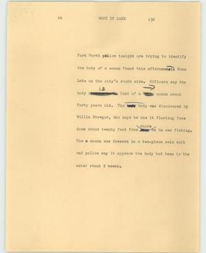 Primary view of object titled '[News Script: Body in lake]'.