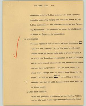 Primary view of object titled '[News Script: Gov-Judge]'.