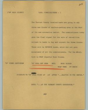 Primary view of object titled '[News Script: Tarr. Commissioners]'.