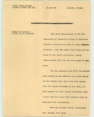 Primary view of object titled '[News Script: Tarco commissioners]'.