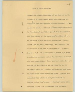 Primary view of object titled '[News Script: University of Texas Memorial]'.