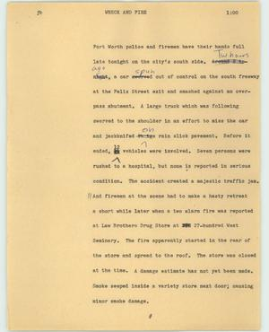 Primary view of object titled '[News Script: Wreck and Fire]'.