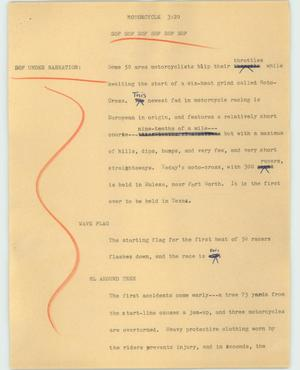 Primary view of object titled '[News Script: Motorcycle]'.