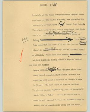 Primary view of object titled '[News Script: Schools]'.