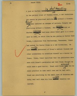 Primary view of object titled '[News Script: Brant trial]'.