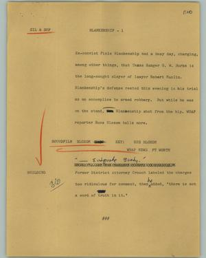 Primary view of object titled '[News Script: Blankenship]'.