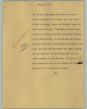 Primary view of object titled '[News Script: Gonzales]'.