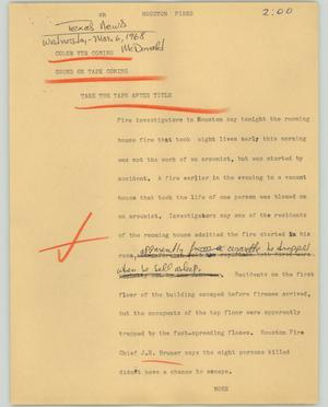 Primary view of object titled '[News Script: Houston fires]'.