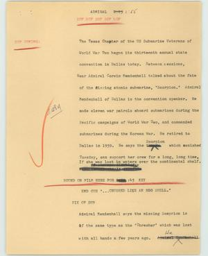 Primary view of object titled '[News Script: Admiral]'.