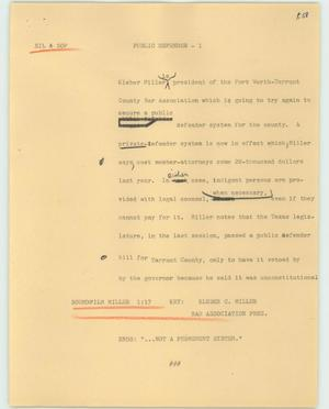 Primary view of object titled '[News Script: Public defender]'.