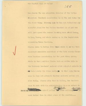 Primary view of object titled '[News Script: New teacher head in Dallas]'.