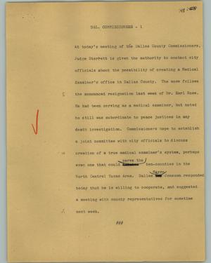 Primary view of object titled '[News Script: Dal. Commissioners]'.