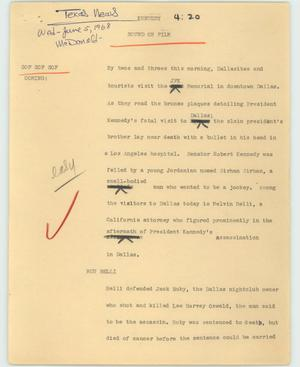 Primary view of object titled '[News Script: Kennedy]'.