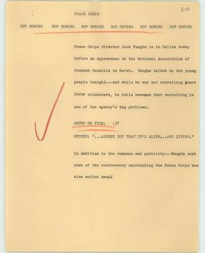 Primary view of object titled '[News Script: Peace corps]'.