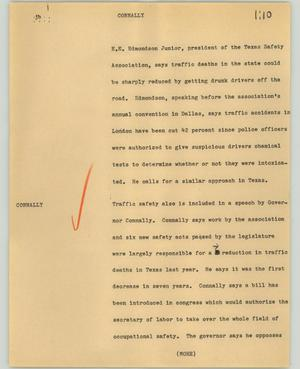 Primary view of object titled '[News Script: Connally]'.