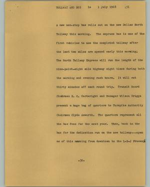 Primary view of object titled '[News Script: Tollway and bus]'.
