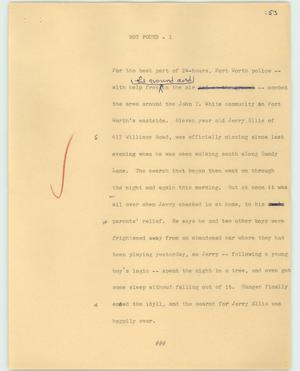 Primary view of object titled '[News Script: Boy found]'.