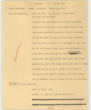 Primary view of object titled '[News Script: Airplane]'.