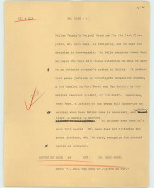Primary view of object titled '[News Script: Dr. Rose]'.