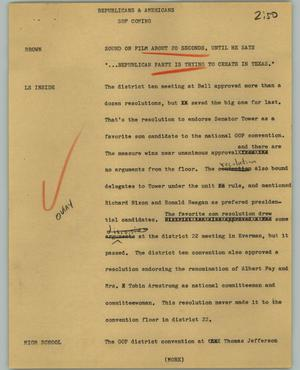 Primary view of object titled '[News Script: Republicans and Americans]'.