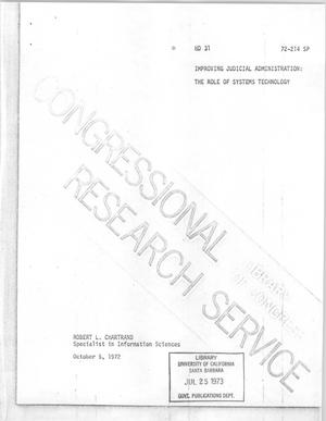 Primary view of object titled 'Improving Judicial Administration: The Role of Systems Technology'.