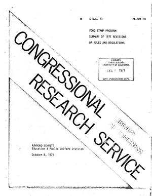 Primary view of object titled 'Food Stamp Program: Summary of 1971 Revisions of Rules and Regulations'.