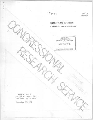 Primary view of object titled 'Initiative and Referendum: A Resume of State Provisions'.