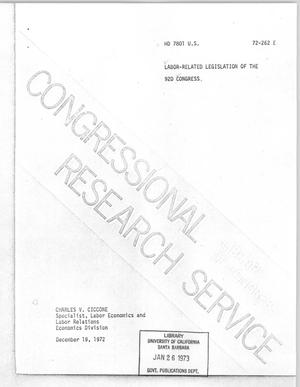 Primary view of object titled 'Labor-Related Legislation of the 92nd Congress'.