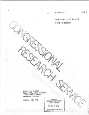 Primary view of object titled 'Labor Issues Likely to Arise in the 93rd Congress'.