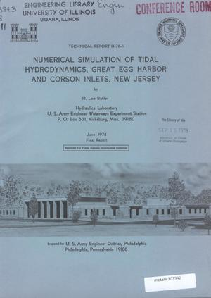 Primary view of object titled 'Numerical Simulation of Tidal Hydrodynamics, Great Egg Harbor and Corson Inlets, New Jersey'.