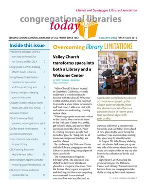 Primary view of object titled 'Congregational Libraries Today, Volume 48, Number 1, 2015'.