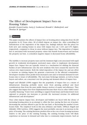Primary view of object titled 'The Effect of Development Impact Fees on Housing Values'.