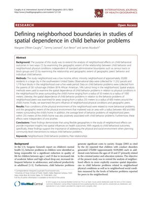 Primary view of object titled 'Defining Neighborhood Boundaries in Studies of Spatial Dependence in Child Behavior Problems'.