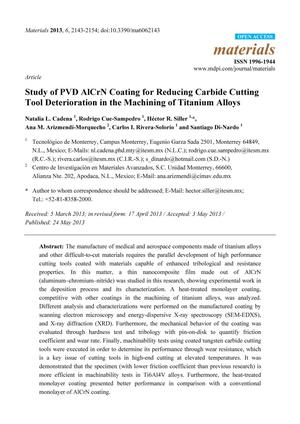 Study of PVD AlCrN Coating for Reducing Carbide Cutting Tool Deterioration in the Machining of Titanium Alloys