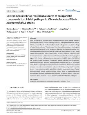 Primary view of object titled 'Environmental vibrios represent a source of antagonistic compounds that inhibit pathogenic Vibrio cholerae and Vibrio parahaemolyticus strains'.