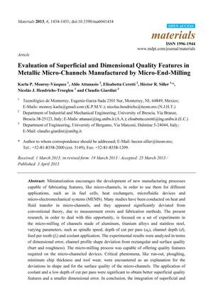 Primary view of object titled 'Evaluation of Superficial and Dimensional Quality Features in Metallic Micro-Channels Manufactured by Micro-End-Milling'.