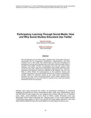 Participatory Learning Through Social Media: How and Why Social Studies Educators Use Twitter