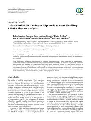Primary view of object titled 'Influence of PEEK Coating on Hip Implant Stress Shielding: A Finite Element Analysis'.
