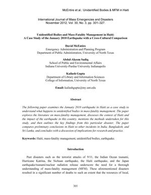 Unidentified Bodies and Mass-Fatality Management in haiti: A Case Study of the January 2010 Earthquake with a Cross-Cultural Comparison