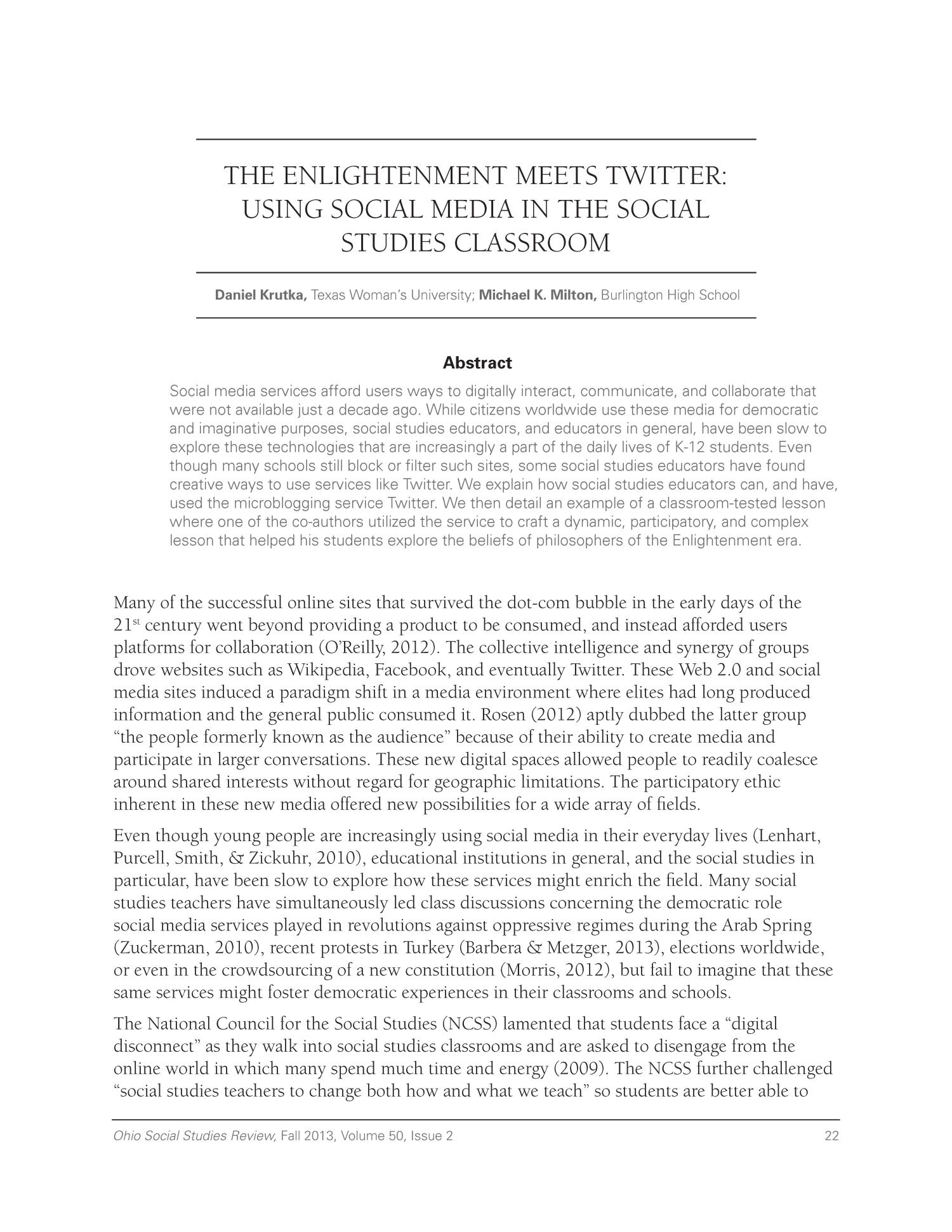 The Enlightenment Meets Twitter: Using Social Media in the Social Studies Classroom