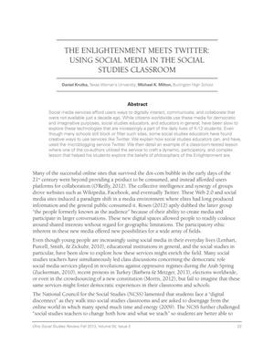 Primary view of object titled 'The Enlightenment Meets Twitter: Using Social Media in the Social Studies Classroom'.