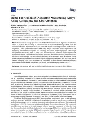 Rapid Fabrication of Disposable Micromixing Arrays Using Xurography and Laser Ablation