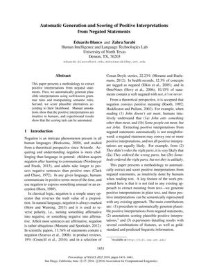 Automatic Generation and Scoring of Positive Interpretations from Negated Statements